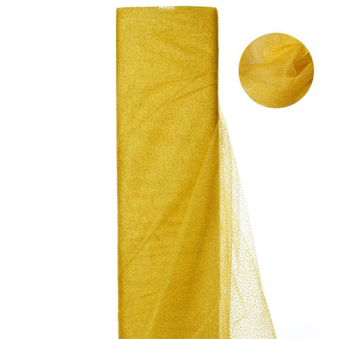 "54""x15 Yards Gold Glitter Dot Tulle Fabric Bolt Wedding Drape Panel Stage Decor"