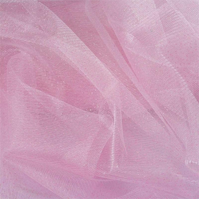 "Shimmering Glitter Sparkle Dot Tulle Fabric-Pink-54""x15 Yard"