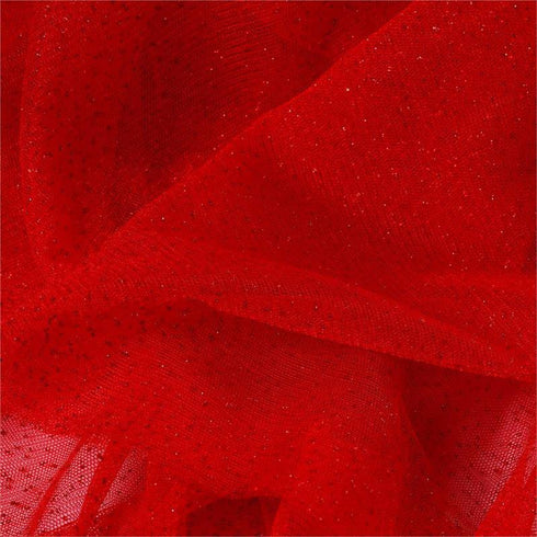 "Shimmering Glitter Sparkle Dot Tulle Fabric-Red-54""x15 Yard"