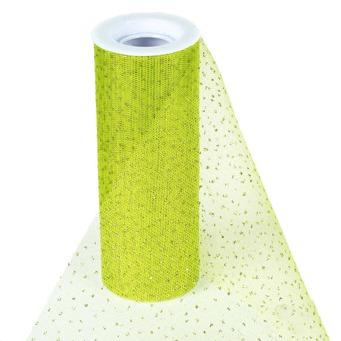"Premium Glitter Sparkle Dot Tulle Fabric - Tea Green- 6""x10 Yards"