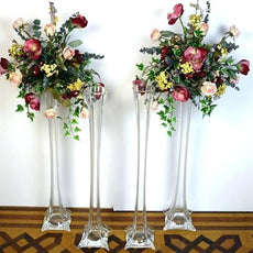 "12 Pack | 16"" Clear Eiffel Tower Glass Flower Vase"