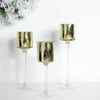 Set of 3 | Gold Long Stem Mercury Glass Cylinder Vase, Candle Holder Set - 12"