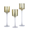 Set of 3 | Gold Long Stem Mercury Glass Cylinder Vase, Candle Holder Set