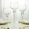 Set of 3 | Clear Long Stem Globe Glass Vase Candle Holder Set - 12"