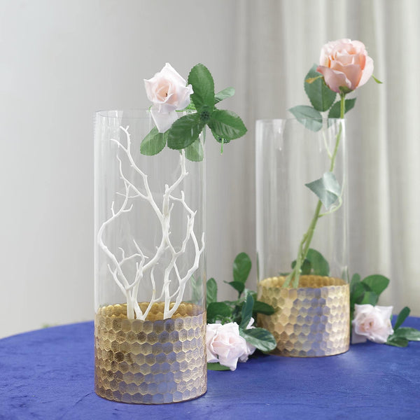"2 Pack - 12"" Glass Cylinder Vases with Gold Honeycomb Base - Glass Candle Holder Set"