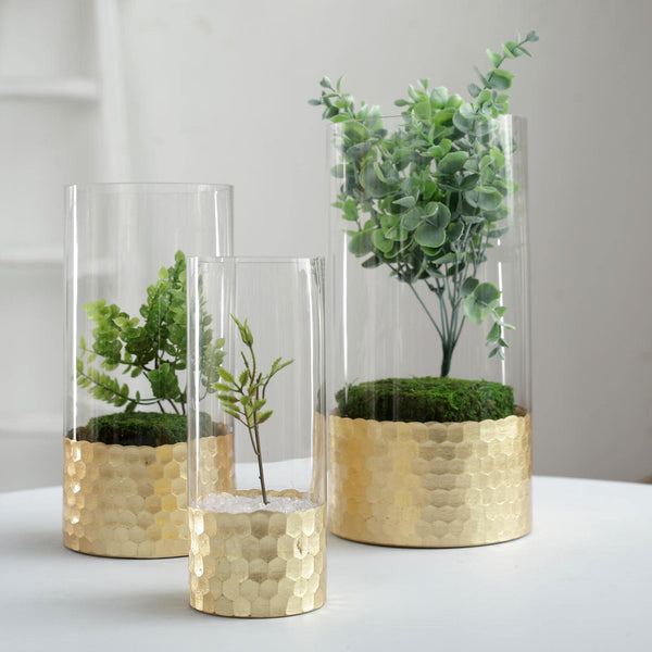 "Set of 3 - Glass Cylinder Vases with Gold Honeycomb Base - Glass Candle Holders - 8"", 10"", 12"""