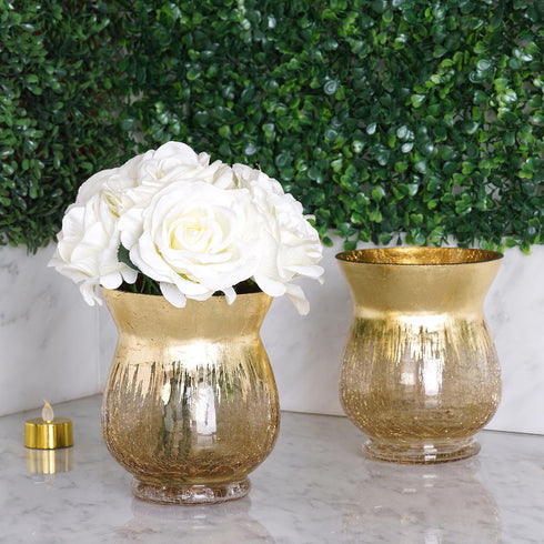 Crackle Glass Flower Vase, Hurricane Candle Holders