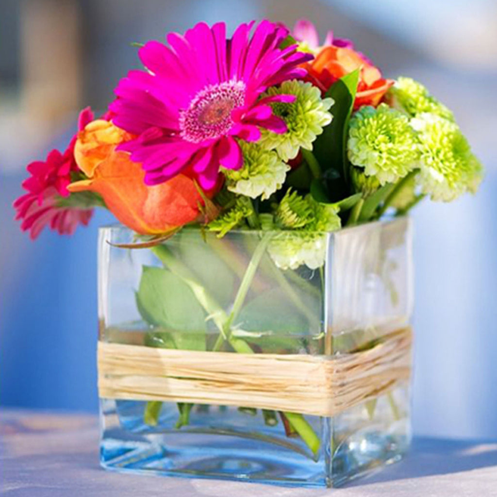 "4"" Glass Centerpiece Block Vase"