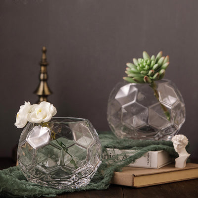 "2 Pack | 4"" Clear Honeycomb Glass Vases 
