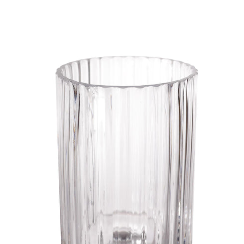 "2 Pack - 9"" Ribbed Pedestal Glass Vases - Heavy Duty Glass Candle Holder - Clear Vase Jar with Ridges"