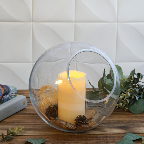 "9"" Slant Cut Round Clear Sphere Vase 