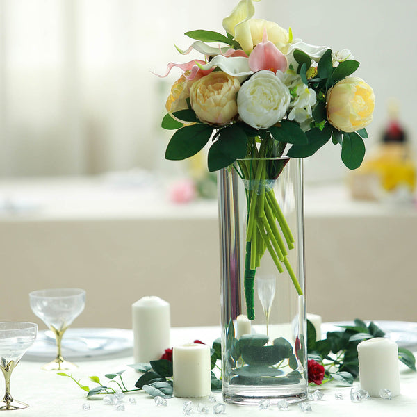 "6 Pack | 14"" Heavy Duty Cylinder Glass Vase"