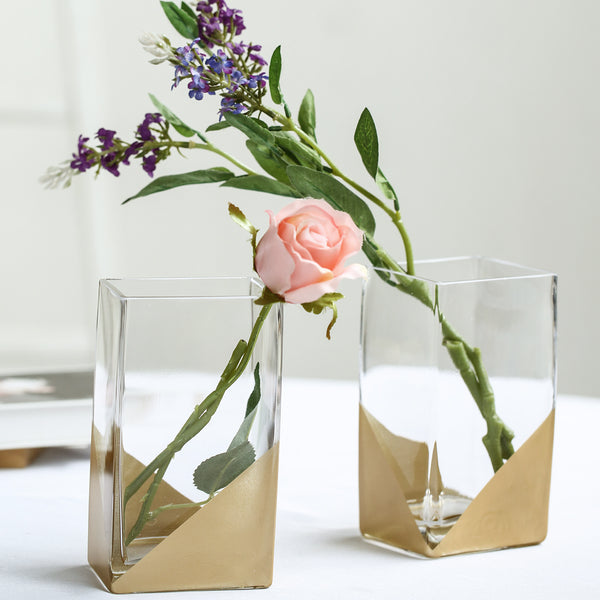 "2 Pack - 7"" Gold Dipped Glass Cylinder Vases Flower Centerpieces"
