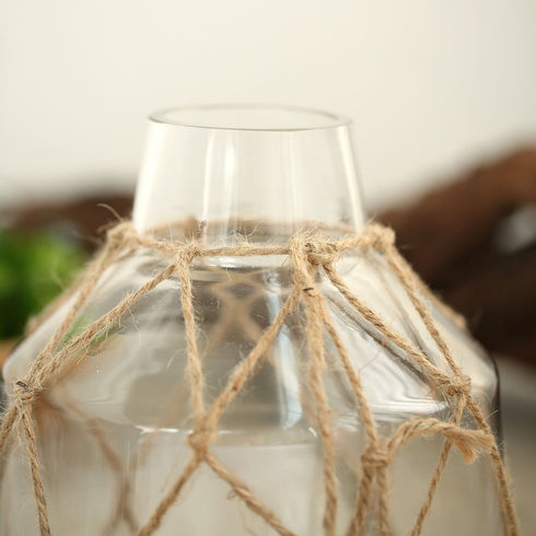 "8"" Tapered Neck Clear Glass Bud Vase - Flower Jar With Twine Net Accent and Metal Coin Tag"