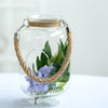 "2 Pack - 16"" Clear Glass Vase Jar with Twine Rope Handle - DIY Hanging Glass Terrariums"