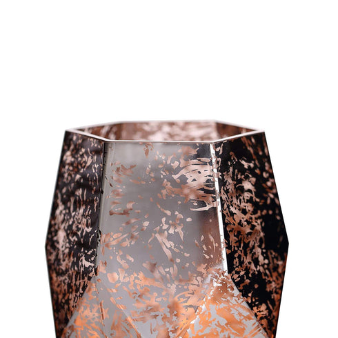"2 Pack - 8"" Pentagon Geometric Vases - Mercury Glass Candle Holders - Silver - Rose Gold"