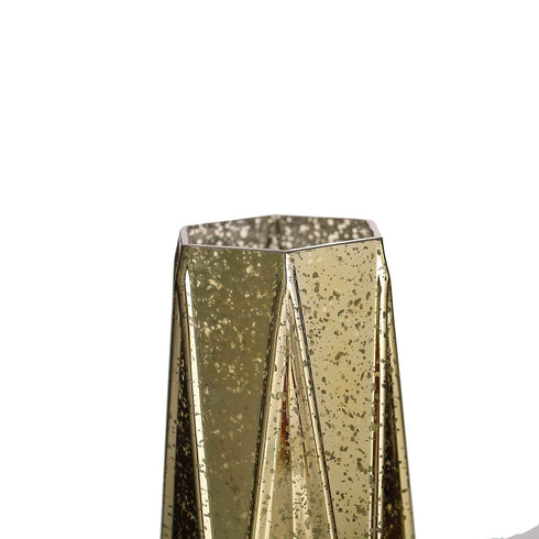 "2 Pack - 8"" Gold Mercury Glass Vases - Geometric Vases Flower Centerpieces"
