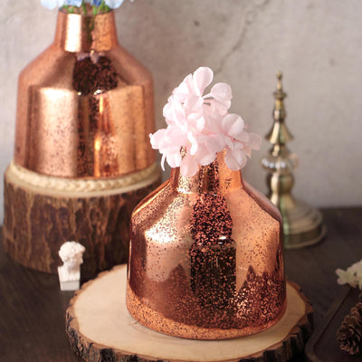 "2 Pack | 8"" Rose Gold Mercury Glass Vases 