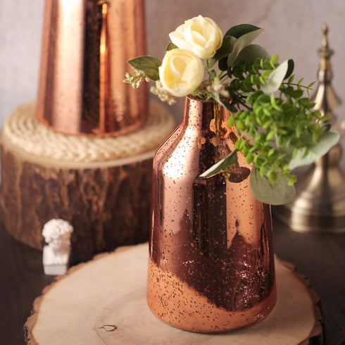 "2 Pack - 9"" Rose Gold Mercury Glass Vases - Vessel Shaped Glass Flower Vase Centerpieces"