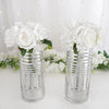 "2 Pack - 11"" Silver Striped Cylinder Vases - Glass Vases Flower Centerpieces"