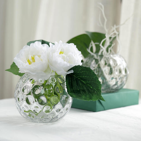 2 Pack 5 Round Clear Sphere Vase Hobnail Glass Bubble Vase Table Top Glass Candle Holder Efavormart