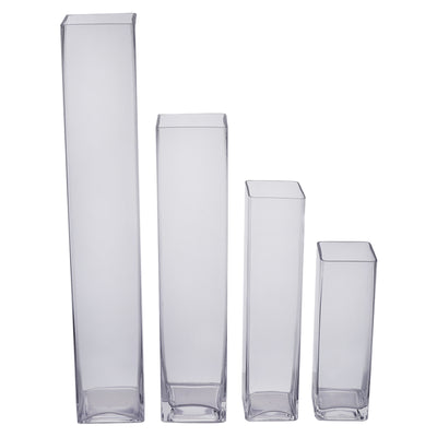 6 Pack 24 Heavy Duty Square Cylinder Glass Vase Efavormart