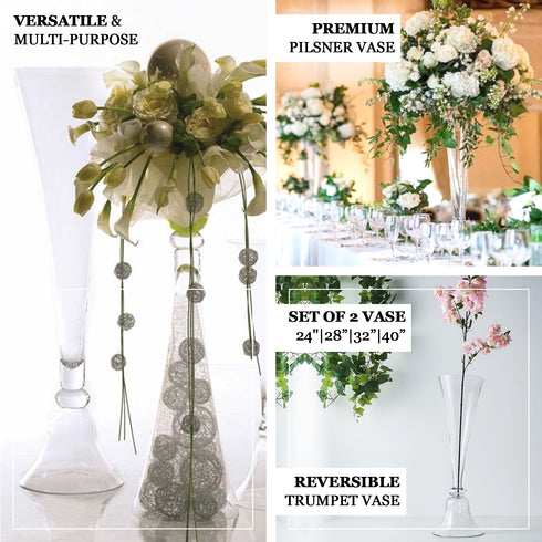 "Set of 2 | 28"" Clear Reversible Clarinet Glass Trumpet Vase, Tall Glass Vases"