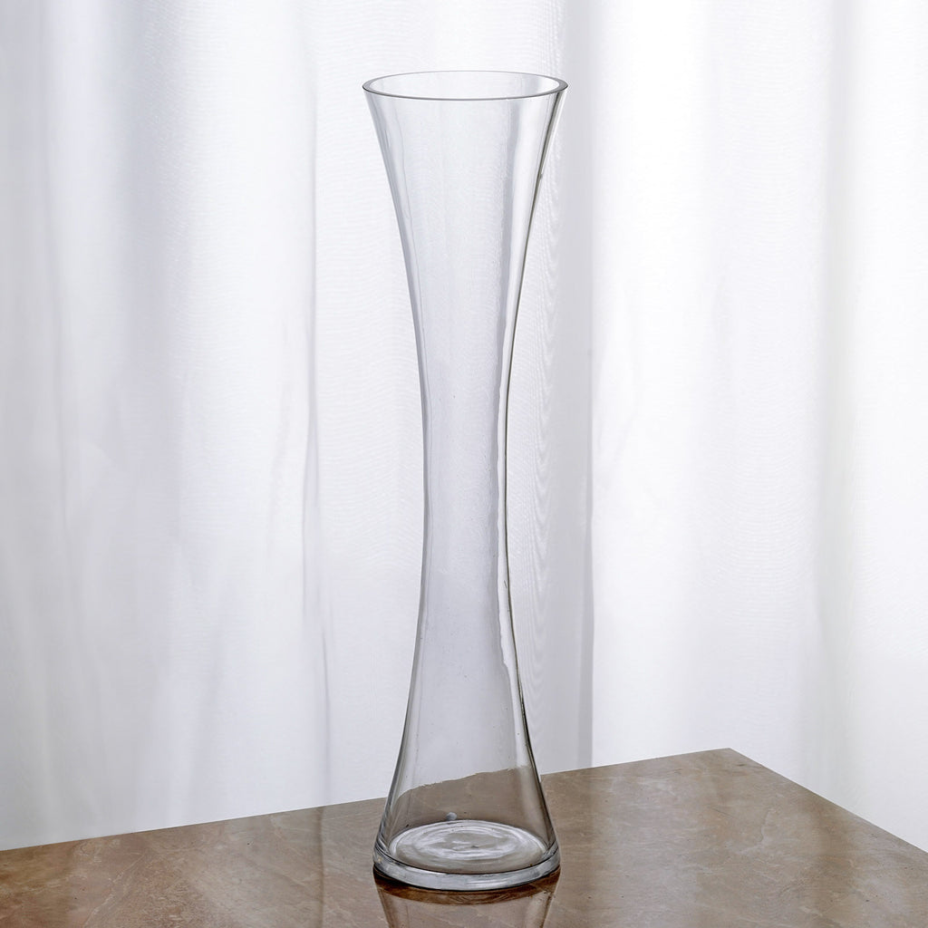 Quot tall clear hourglass shaped floral centerpiece vase