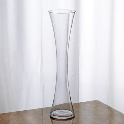 "16"" Tall Clear Hourglass Shaped Floral Vase - 12pcs"