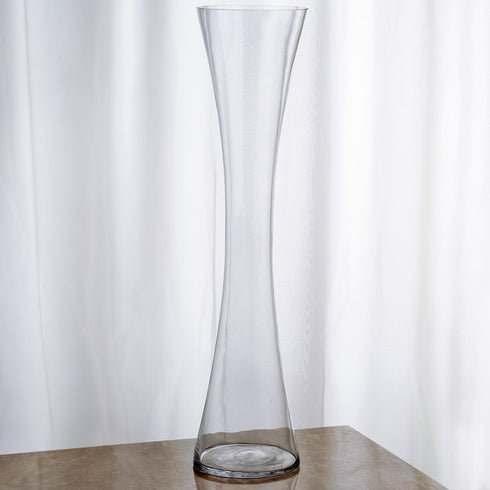 "24"" Tall Clear Hourglass Shaped Floral Vase - 6pcs"