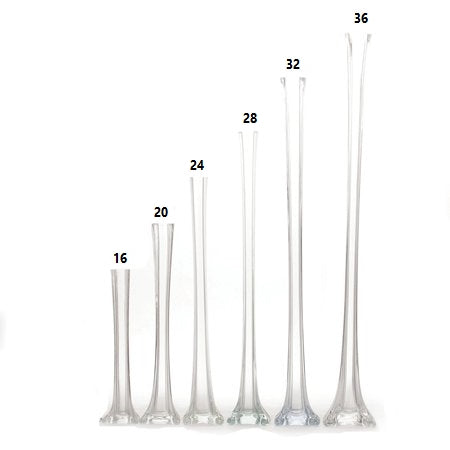 "12 Pack | 20"" Clear Eiffel Tower Glass Flower Vase"