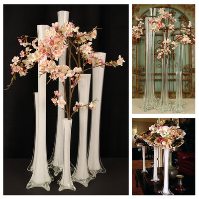 6 Pack | 36'' White Eiffel Tower Glass Flower Vase