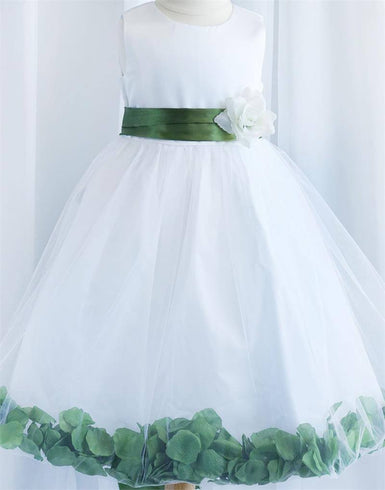 Tulle Overlay Flower Girl Petal Dress - Ivory