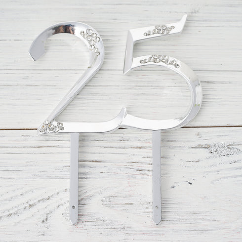 "5.25"" Silver Unbeatable at 25 Cake Topper"