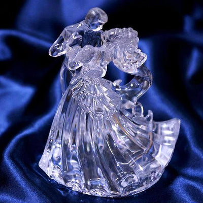 "5.25"" Clear Bianca Bride & Groom Couple Cake Topper Figurine"