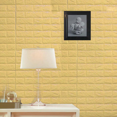 10 Pack | 58 Sq.Ft Pastel Yellow Peel and Stick 3D Foam Brick Wall Tile