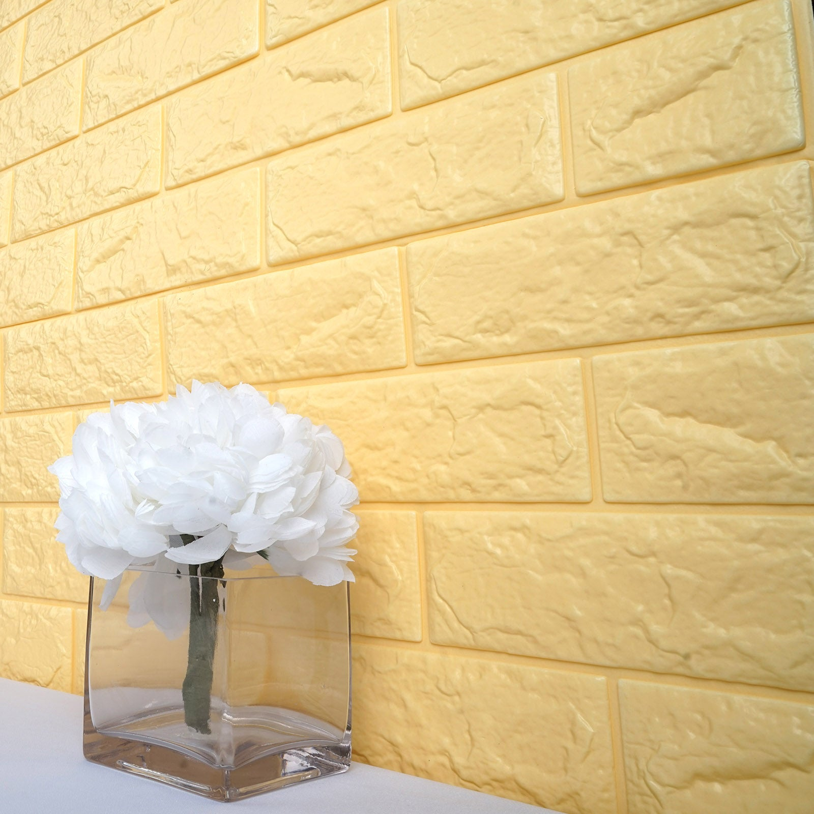 10 Pcs 58 Sq.Ft Pastel Yellow 3D Faux Foam Bricks Self-adhesive ...