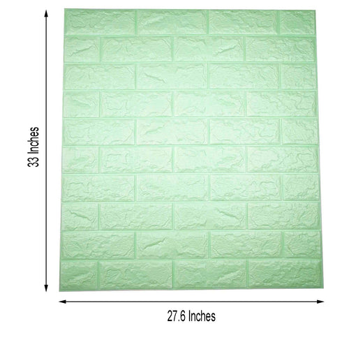 Pack of 10 | 58 Sq.Ft Mint Green Peel and Stick 3D Foam Brick Wall Tile