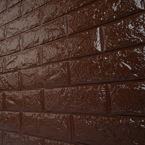 10 Pcs 58 Sq.Ft Chocolate 3D Faux Foam Bricks Self-adhesive Waterproof Art Wall Panel