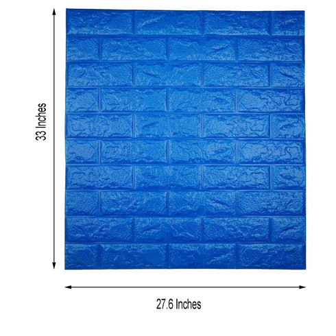 Pack of 10 | 58 Sq.Ft Royal Blue Peel and Stick 3D Foam Brick Wall Tile