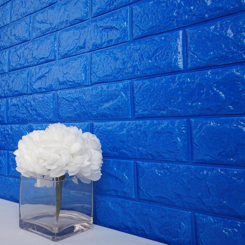 10 Pcs 58 Sq.Ft Royal Blue 3D Faux Foam Bricks Self-adhesive Waterproof Art Wall Panel