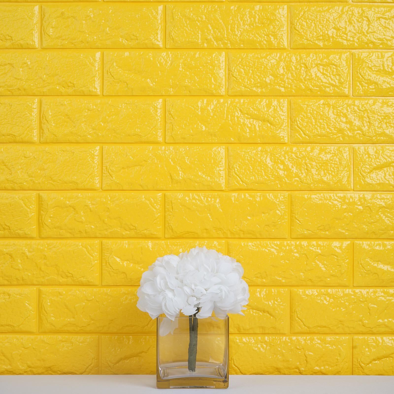 10 Pcs 58 Sq.Ft Yellow 3D Faux Foam Bricks Self-adhesive Waterproof ...