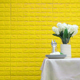 10 Pack | 58 Sq.Ft Yellow Peel and Stick 3D Foam Brick Wall Tile