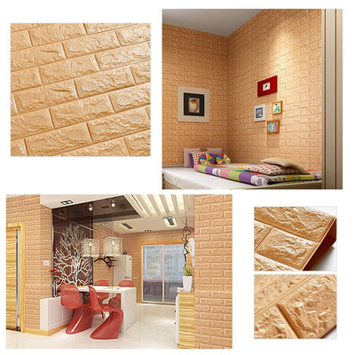10 Pack | 58 Sq.Ft Gold Foam Brick Wall Tiles Peel and Stick 3D Wall Panel Room Decor