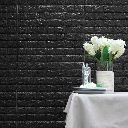 10 Pack | 58 Sq.Ft Black Peel and Stick 3D Foam Brick Wall Tile