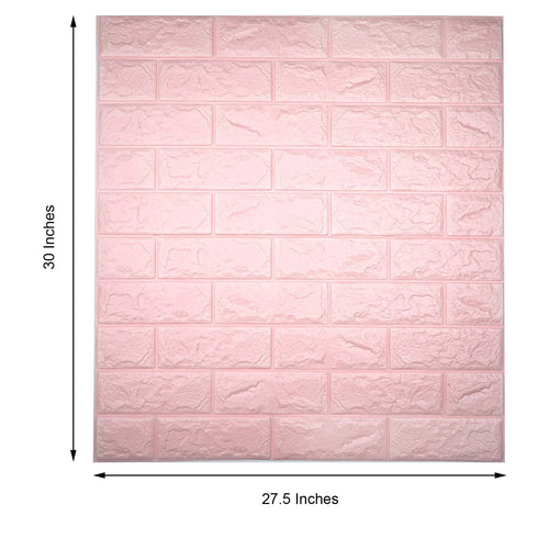 Pack of 10 | 58 Sq.Ft Blush Pink Peel and Stick 3D Foam Brick Wall Tile