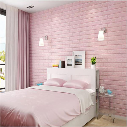 10 Pack | 58 Sq.Ft Blush Pink Peel and Stick 3D Foam Brick Wall Tile