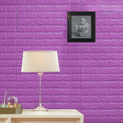 10 Pack | 58 Sq.Ft Purple Peel and Stick 3D Foam Brick Wall Tile