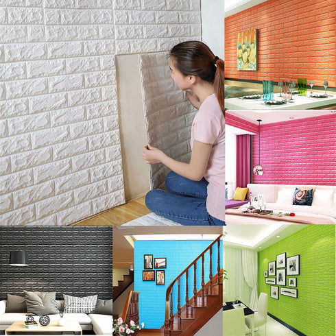 10 Pcs 58 Sq.Ft Silver 3D Faux Foam Bricks Self-adhesive Waterproof Art Wall Panel