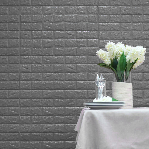 10 Pack | 58 Sq.Ft Metallic Silver Peel and Stick 3D Foam Brick Wall Tile